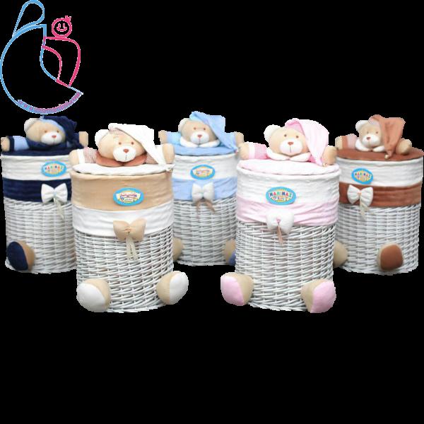 سبد لباس مدل خرسی تدی ( teddy bear decorated basket)