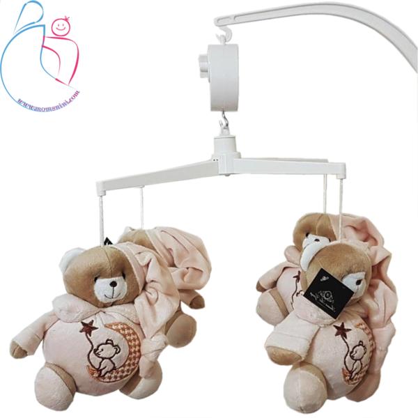 آویز موزیکال عروسکی پایه دار تخت کودک طرح خرس تدی