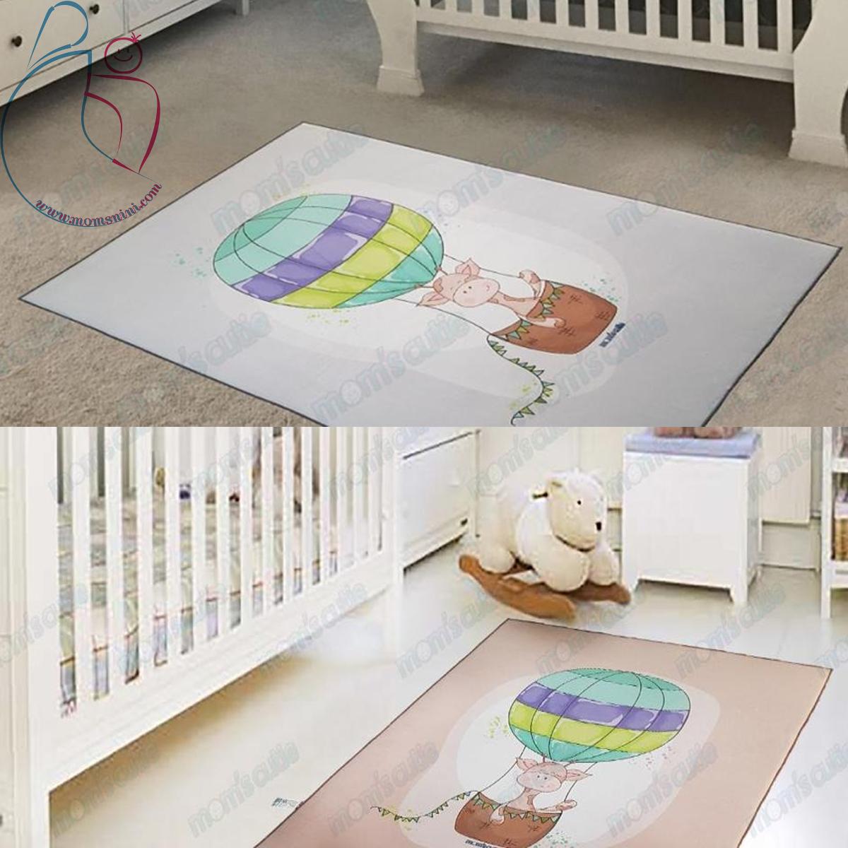 فرش اتاق کودک مامزکیوتی طرح زرافه و بالن