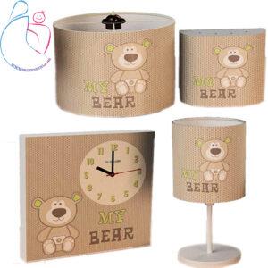 ست4تکه ساعت دیواری و روشنایی اتاق کودک مدل خرس من