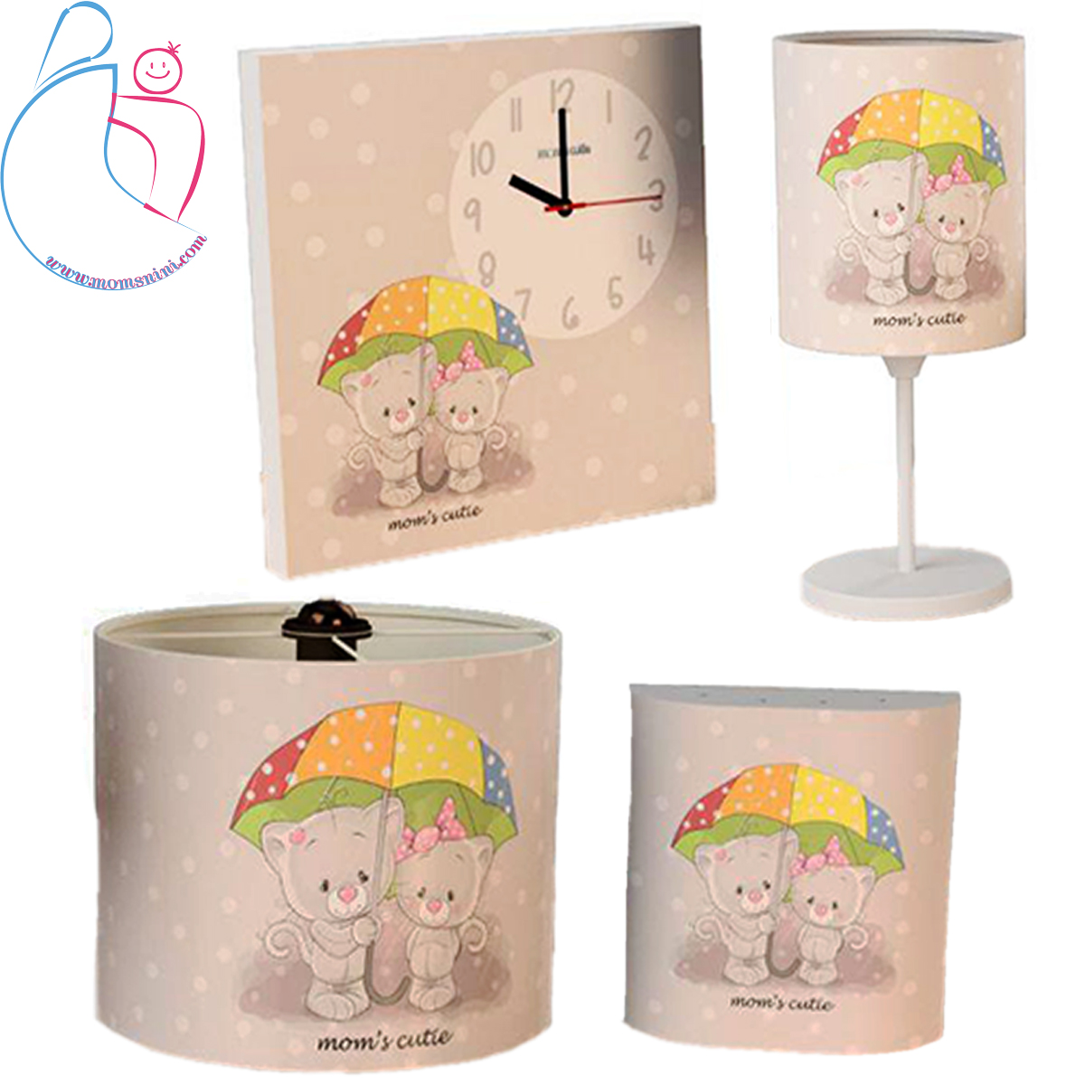 ست۴تکه ساعت دیواری و روشنایی اتاق کودک طرح گربه چتری