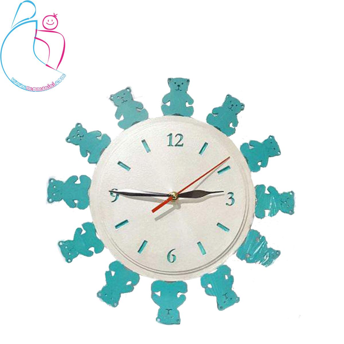 ساعت دیواری چوبی اتاق کودک پارمیس مدل خرس