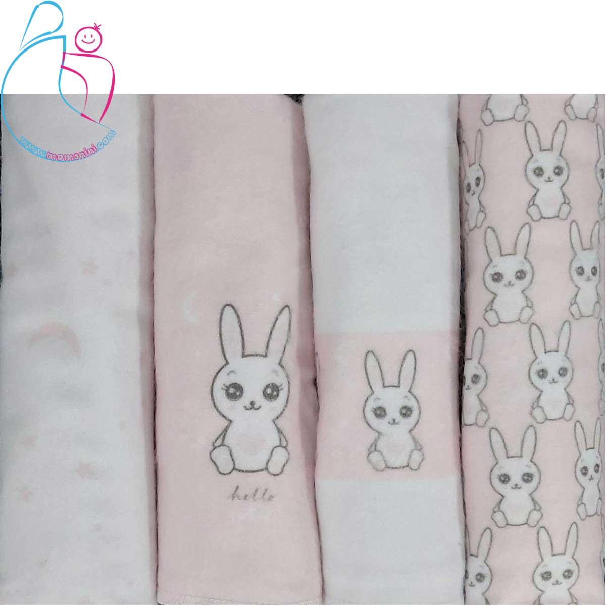 بسته ۴ تایی خشک کن و زیرانداز مامز کیوتی مدل خرگوش لوس