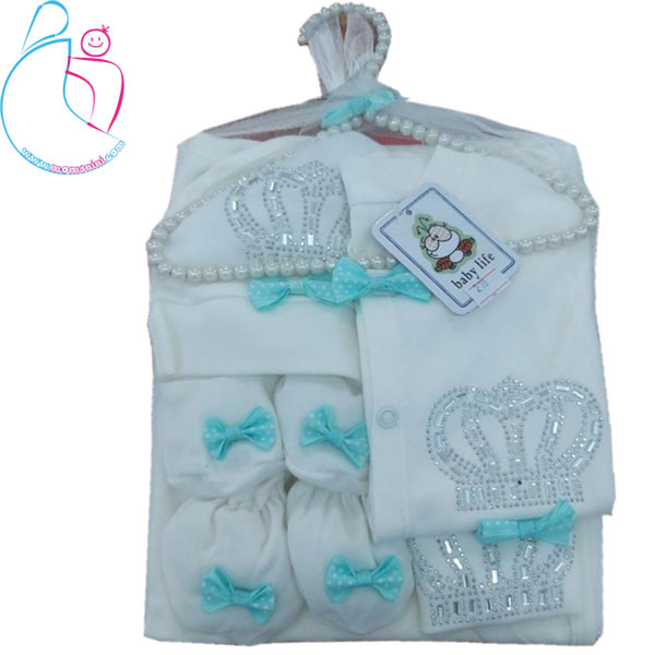 ست لباس نوزادی 7 تکه baby life مدل تاج