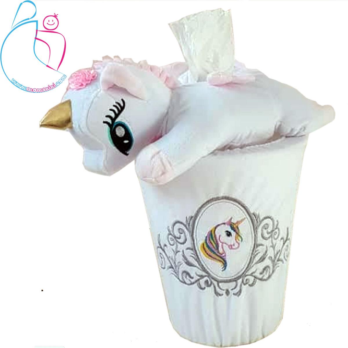 سطل زباله و جا دستمال کاغذی اتاق کودک طرح اسب تک شاخ ( یونیکورن )